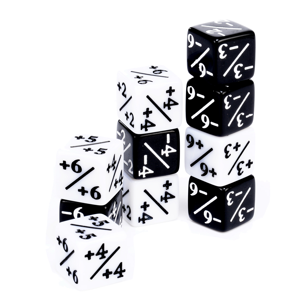 10x Counters Dice 5 Positive +1/+1 & 5 Negative -1/-1 For Magic Gathering Games Table Board Interesting Gaming Party Bar Dice