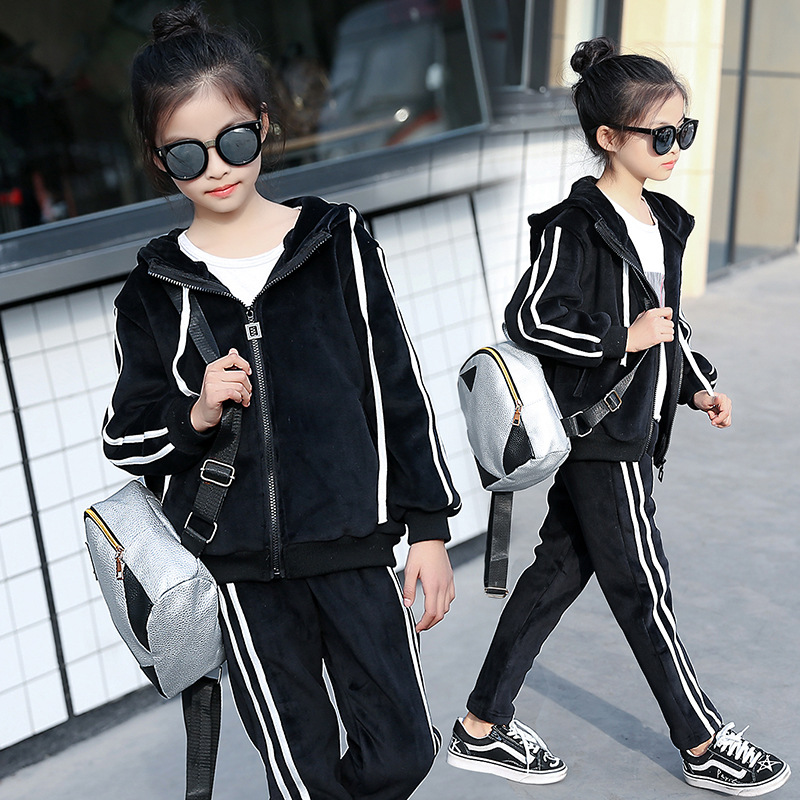 Fashion Girls Clothes Set 4-12Y Zipper Kids Jacket+Pants Velvet Tracksuit For Girls Sport Suit Casual Children Clothing Sets retail 2pcs brand new design girls clothing sets for kids autumn tracksuit for girls velvet jacket pants children sport suit