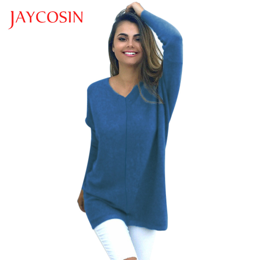Jaycosin Clothes Sweater Women Autumn Winter V-neck Sweater Ladies Sexy Casual Long Sleeve Cotton Warm Sweater Solid Blouse