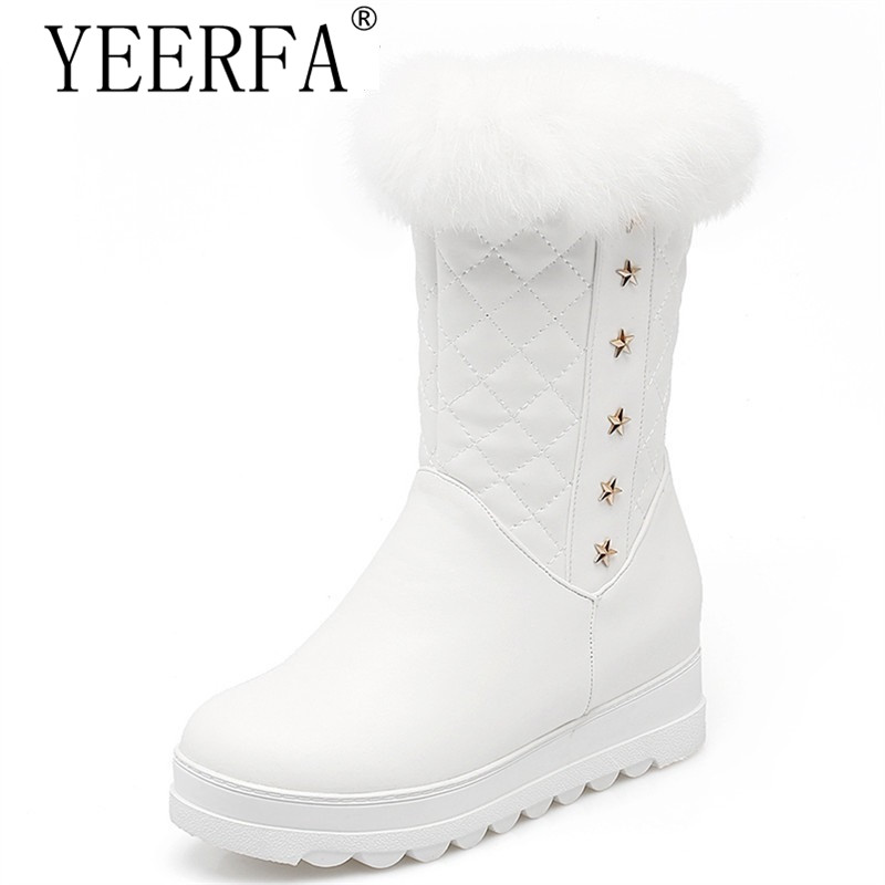 YEERFA Plus size 34-43 new keep warm mid calf snow boots round toe soft leather platform shoes woman sweet women winter boots women snow boots winter warm shoes solid color flat ladies snow boots round toe mid calf women boot platform girls school shoes