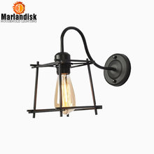 Vintage Industrial Style Decorating Wall Lamp Retro Iron Cages Wall Light Black Metal Wall Scone Loft Bedroom Lightings (BP-65)(China)
