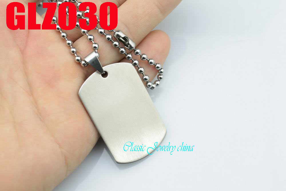 42mm satin face stainless steel pendant private tags pendant man male satin finish necklace chains 10 pcs GLZ030