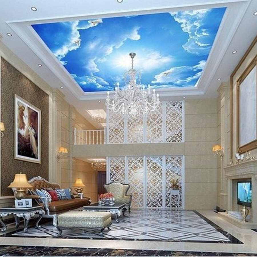 Beibehang Photo Large Clouds 3d Interior Ceiling In The