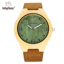 IBigboy Reloj Aparece Verde de Los Hombres de Madera De Bambú De Madera de Japón Relojes de pulsera de Cuarzo Correa de Cuero Luminoso Analógico Relojes Con Cajas