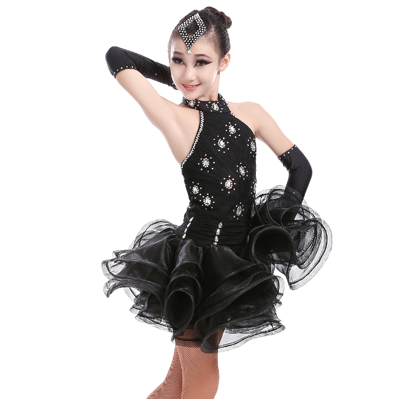 Free Shipping Elegant Sexy Sequin Latin Ballroom Dance Dress Child Kid Latin Competition Latin Dance Dress For Stage