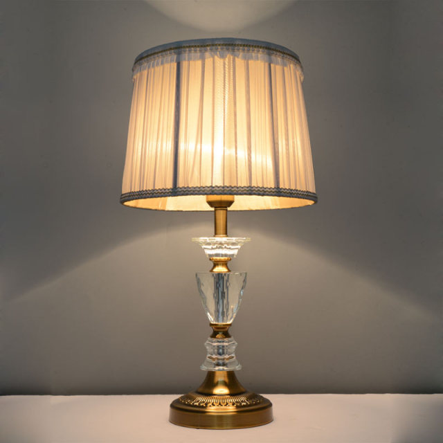 Vintage crystal table lamp e27 bedroom living room bedside for Living room lamp shades