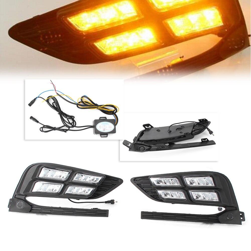 Acheter 2 PCS Voiture LED Feux de jour Feux de Brouillard Fonctionnent Lampe Blanc DRL Pour Chevy Cruze 2017 2018 Automobile Pièces D'éclairage accessoires de Signal Lampe fiable fournisseurs