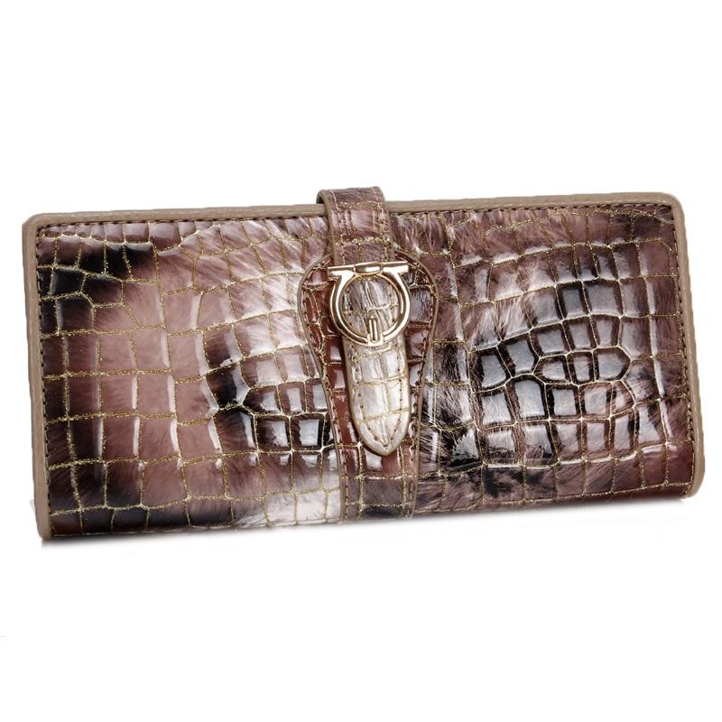 Genuine Leather <font><b>Wallet</b></font> Cowhide Women&#8217;s <font><b>Wallets</b></font> Clutch Long Design Purse <font><b>Bags</b></font> Handbag Fashion Women Purse Patent Leather <font><b>Bag</b></font>