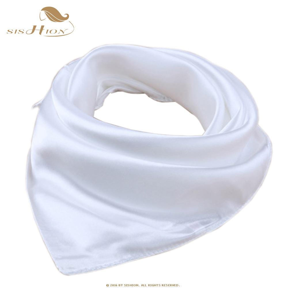 SISHION Elegant Bufanda 60cm*60cm Echarpes Foulards Femme Women Scarf White Satin Office Lady Vintage Style Shawls Scarves SD010