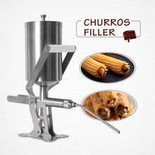Manual Spain Churros Filling Machine Stainless Steel Frying Churros Pure Chocolate Maker 2.3L Stuffing Jam Snack Filler Tool jiqi octopus balls filler takoyaki stainless steel filling funnel manual waffle batter separator chocolate cream baked hopper