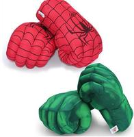 12'' Hulk Smash Hands + Spider Man Plush Gloves Spiderman Performing Props Plush The Avengers Gloves Toy 2Pcs/Pair