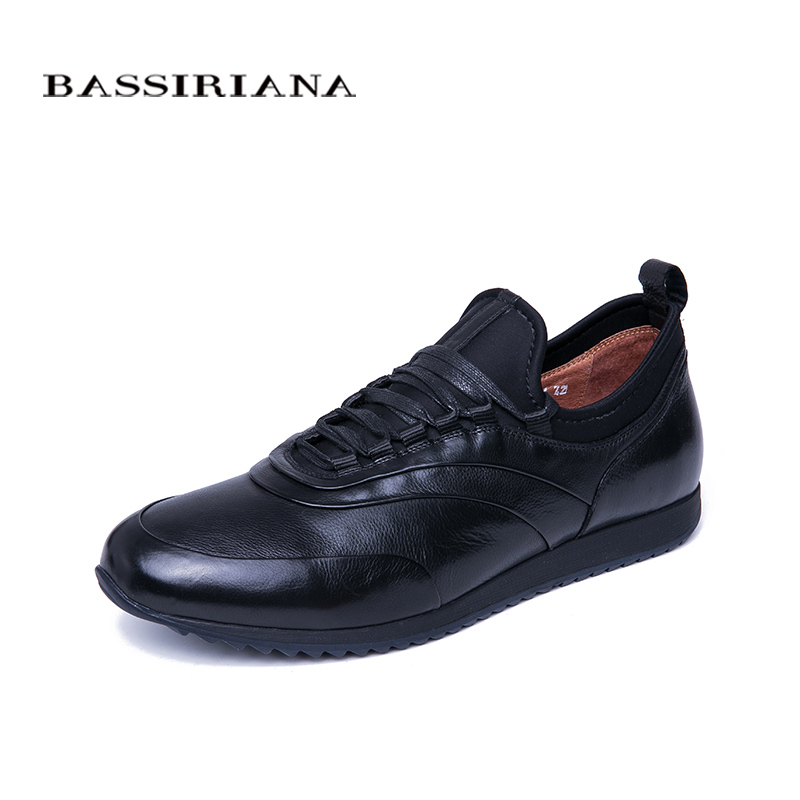 BASSIRIANA 2019 spring and autumn men s casual shoes natural leather men s shoes comfortable size