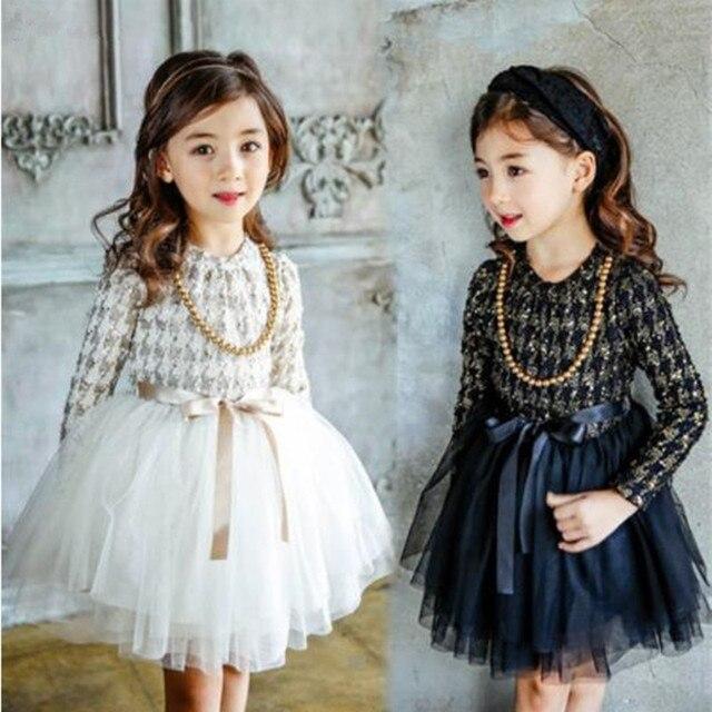 Dziewczynek ClothesKids małych dzieci dziewczyny dzieci z długim rękawem grubsze gaza tiul sukienka sukienka 2 kolory ubrania dla dzieci 5 zestawów/partia