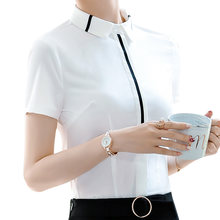 Women blouses and tops summer Ladies white shirt cotton short sleeve blazer office chiffon elegant work suit female plus size(China)