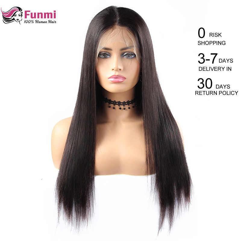 Funmi кружевные передние человеческие волосы парики 360 кружевных фронтальных париков Прямые Полностью кружевные передние парики с детскими волосами малазийские Реми кружевные парики