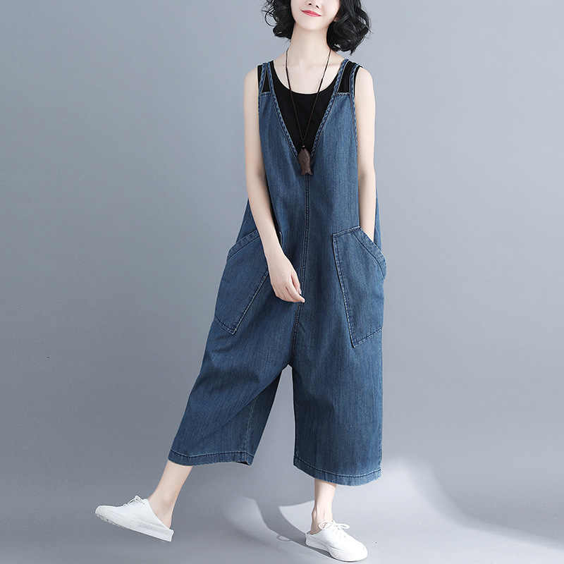 dd469c38251 Johnature Women Denim Jumpsuits Loose Blue 2019 Summer New V-Neck Pockets  Casual Korean Style