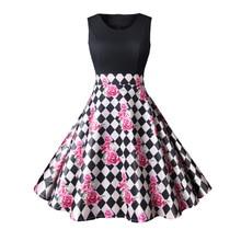 цены на dresses 90s vintage women o-neck print woman dress style sleeveless empire party casual clothes print в интернет-магазинах