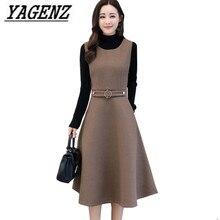 Women Wool Vest Dress Fashion Autumn Winter Elegant Slim O neck Sleeveless Dress Plus size Ladies With pocket Woolen Dress 3XL