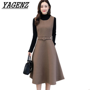 Image 1 - Women Wool Vest Dress Fashion Autumn Winter Elegant Slim O neck Sleeveless Dress Plus size Ladies With pocket Woolen Dress 3XL