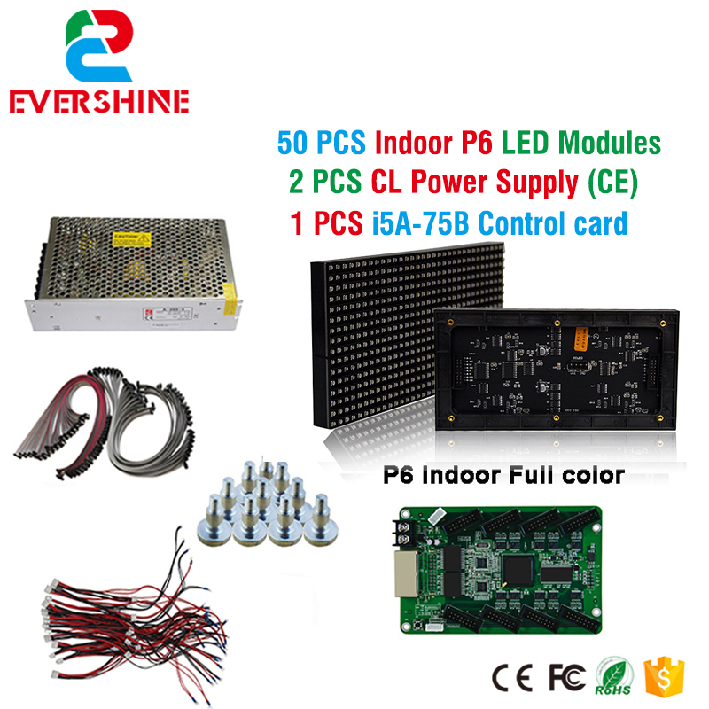 p6 smd indoor full color led display sign 50pcs p6 led  display module+1 pcs led control card+9 pcs CL Power supply A-200-5 diy kit p10 led display advertising outdoor full color module 4 pcs d10 control card 1 pcs jn power supply 1 pcs