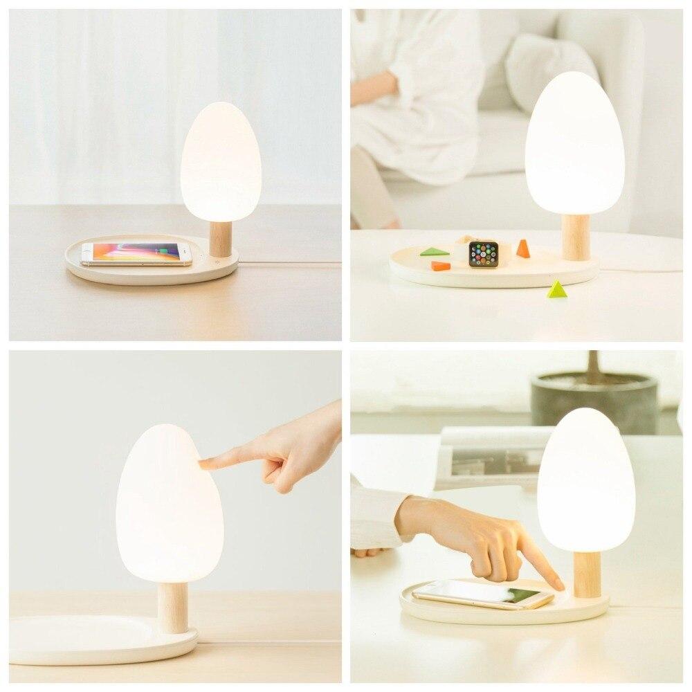 Светодиодный настольная лампа с Беспроводной Зарядное устройство 5 Вт защита глаз настольная ночник Три затемнения Touch деревянный стол лам... ...