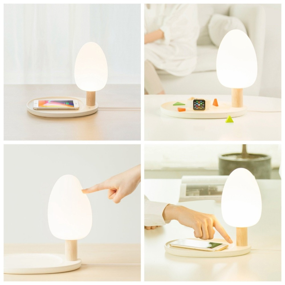 LED Desk Lamp With Wireless Charger 5W Eye Protection Table Night Light Three Dimmable Touch Wooden Desk Lamps Bed Reading Light aifeng led desk lamp foldable dimmable 5w 370lm desk table light usb charging touch night light eye care book reading desk lamps