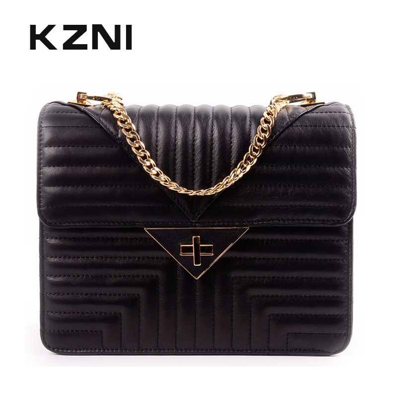 KZNI Women Bags Handbags Genuine Leather Bag with Chain Purses and Handbags Girls High Quality Black Women Sac a Main Femme 1439 white women bag purses and handbags sac a main femme fashion genuine leather shoulder bags 2016 hollow out lady composite bag