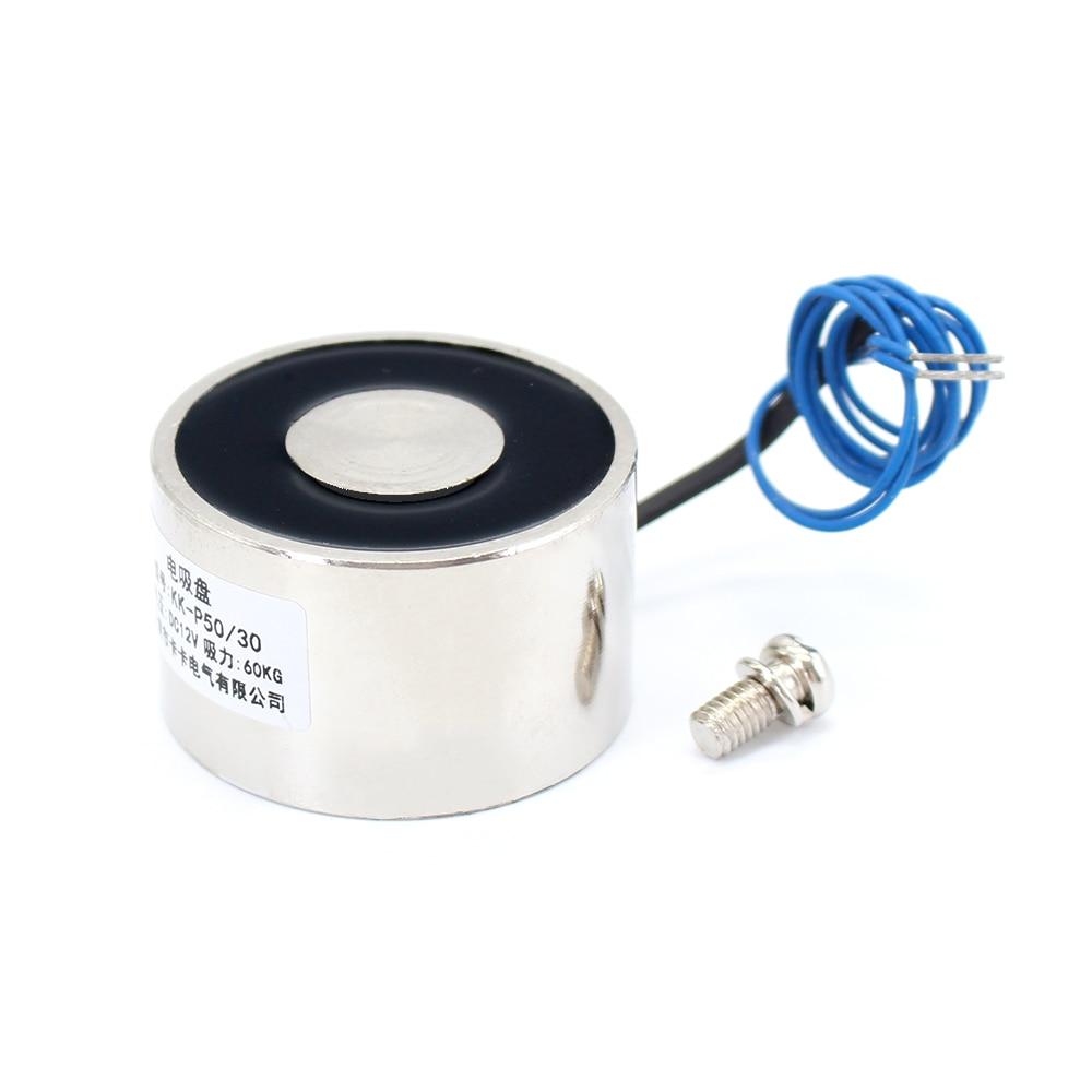 50*30 DC 6V 12V 24V Waterproof Energized Hold Electromagnet 60kg Sucker electric magnet coil portable lift powerful 12 solenoid dc 24v 1 2a 18mm 0 3kg pull electric solenoid electromagnet coil