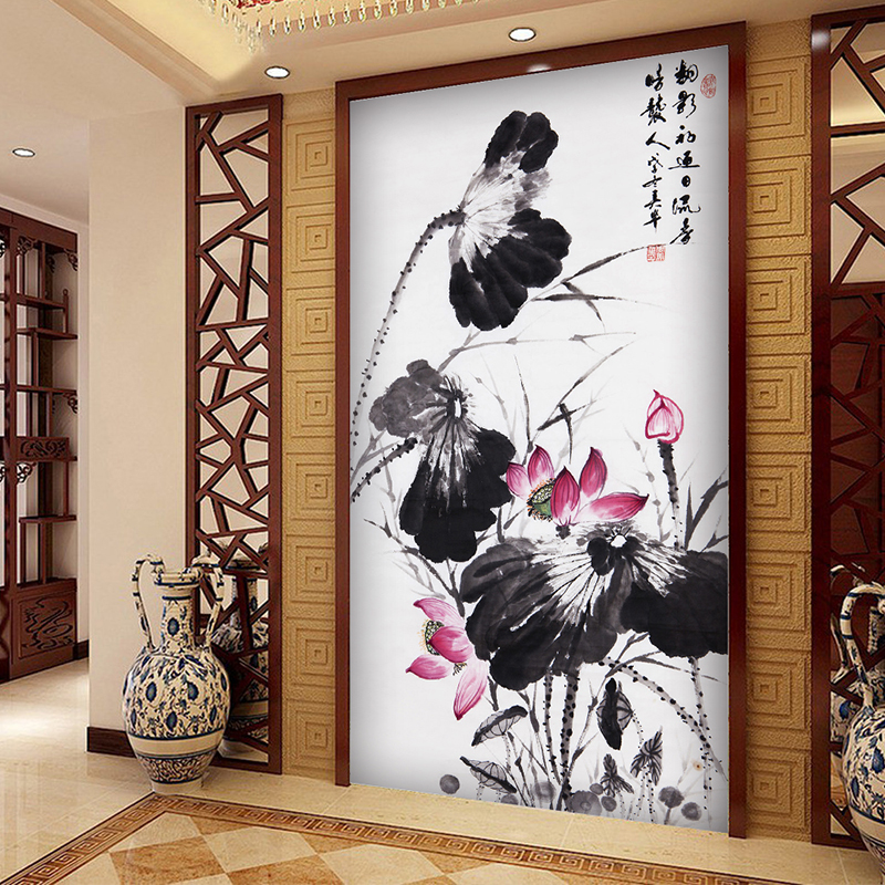 Wall Mural Wallpapers Lotus Chinese Ink painting Living Sofa TV Background Restaurant home decor Wallpaper Custom any Size new can customized waterproof wall stickers art 3d large big wallpaper sky mural restaurant sofa tv background home decor