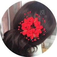 Piekło Dziewczyna Lycorisradiata kimono kwiaty Japoński styl panny młodej cosplay nakrycia głowy włosy kije akcesoria