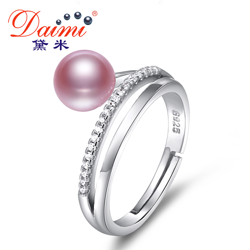 DAIMI Ring 7 8MM Freshwater Pearl Ring 6 Color Fashion Cute Gift For Women S925 Silver