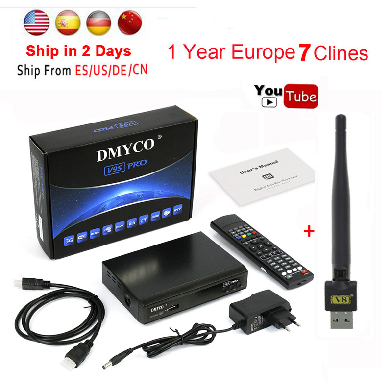 цена на 1 year cccam 7 cline for Europe Satellite Receiver DVB-S2 1080P digital tv receptor+USB WIFI support BissKey newcam IPTV Youporn