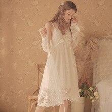 Vintage frauen Nachthemden Weiß Spitze 2 Pics Roben Royal Roupas De Dormir Femininas Spitze Nachtwäsche