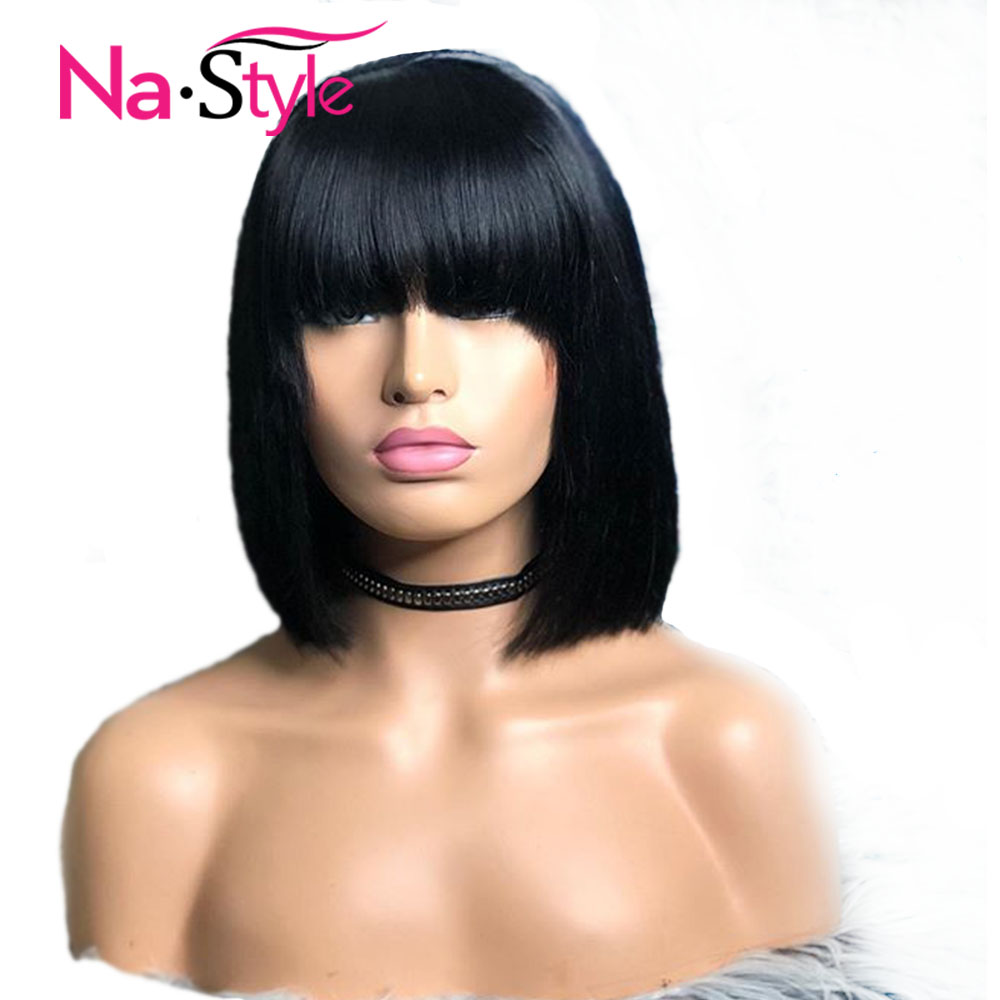Straight Bob Wig Lace Front Human Hair Wigs With Bangs For Black Women Bob 13x6 Lace