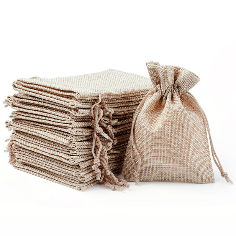 50PCS Jute Bag Jewelry Packaging Vintage Burlap Pouch Cosmetics Wedding Party Candy Gift Storage Pouch Packing Sack Custom Print