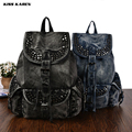 KISS KAREN Vintage Fashion Rivets Cowboy Backpacks Studs Denim Backpack Jeans Travel Women Bag Casual Daypacks Ladies Bags