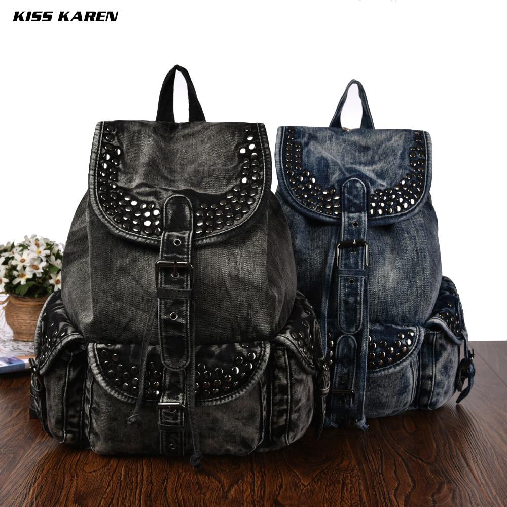KISS KAREN Vintage Fashion Rivets Denim Backpacks Studs Women Backpack Jeans Travel Women Bag Casual Daypacks