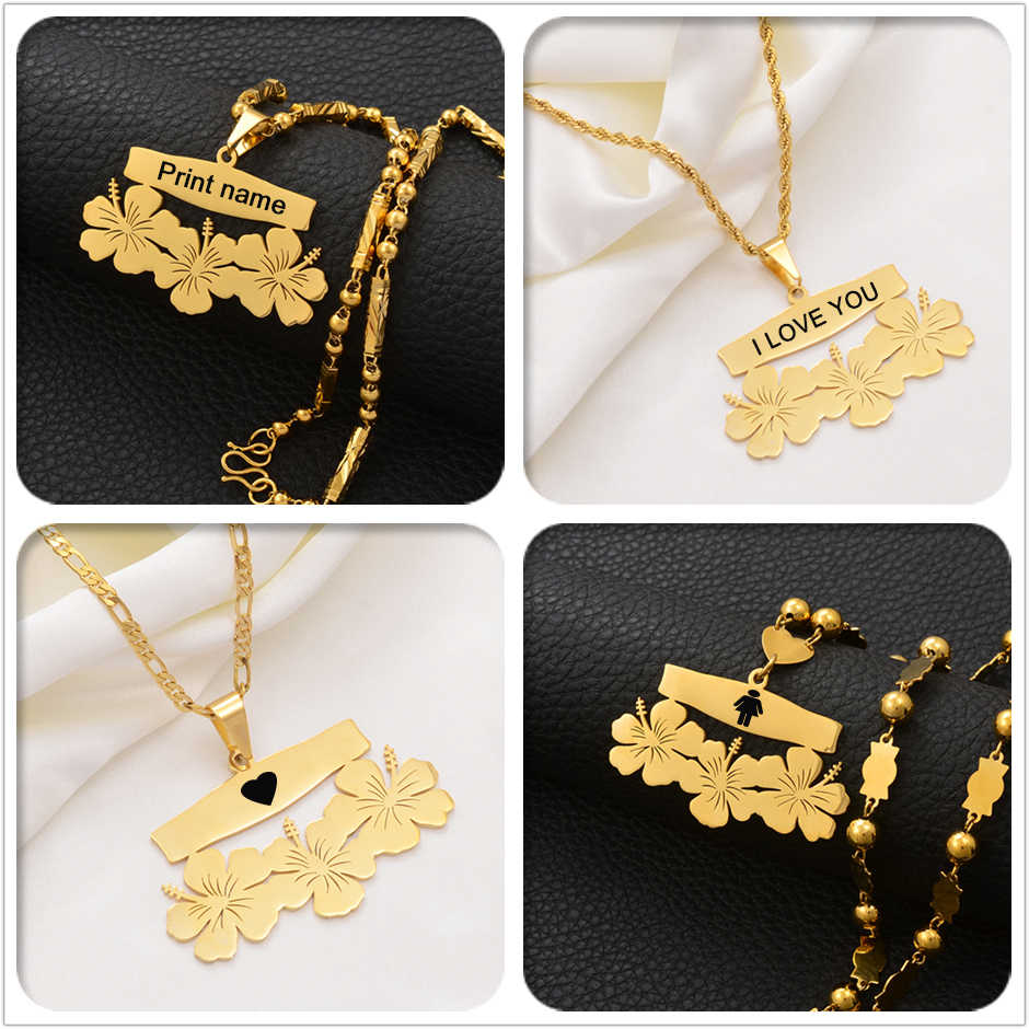 Anniyo Customize Name Letters Pendant Necklaces,Personalized Print Date of Birth or Your Idea Hawaiian Flowers Jewelry #107421