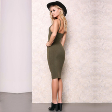 Sexy Slim Summer Dress Knitted Bandage Plunge V Neck Backless Army Knitting Dresses Women Club Dresses 1048