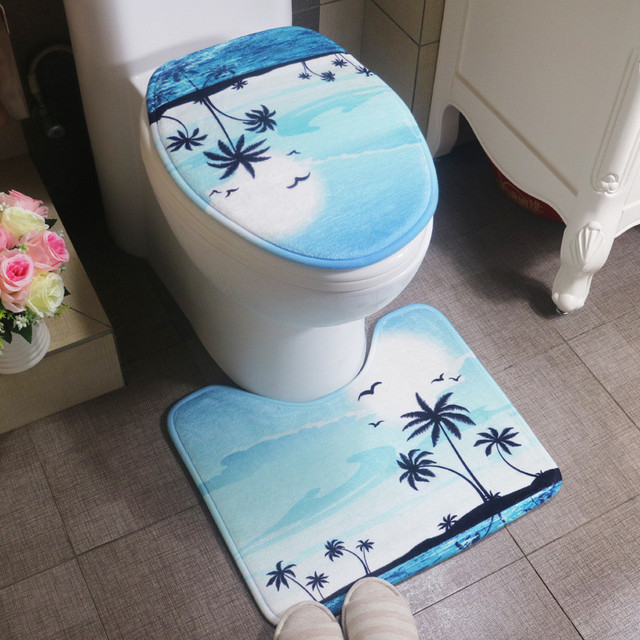 2 Pcs Set Seaside Style Bathroom Mats Non Slip Rugs For Water Absorbent Toilet Carpet Mat