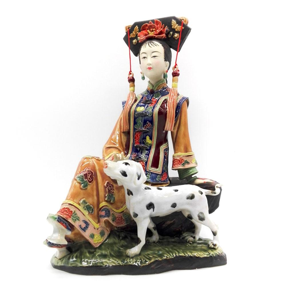 Collections Home Decoration Vintage Porcelain Sculpture Art Chinese Antique Statue Fine Ceramic Ornament Figure Craft