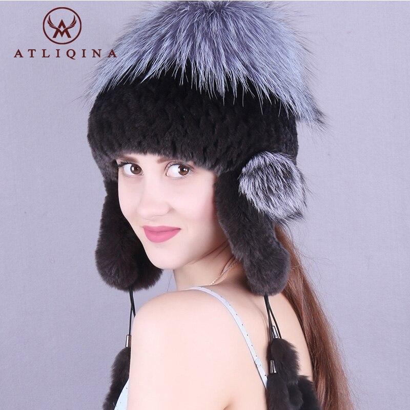 Atliqina шляпа женщин наушник крышка держать ухо теплый мех кролика hat молодых женщин зимняя шапка модные шапочки с меха лисы прекрасный