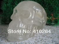 0116P [old craft ] Fast Shipping L5.5inch large FengShui Good Luck Clear Quartz Rock Skull Carving, Realist Crystal statue (A031