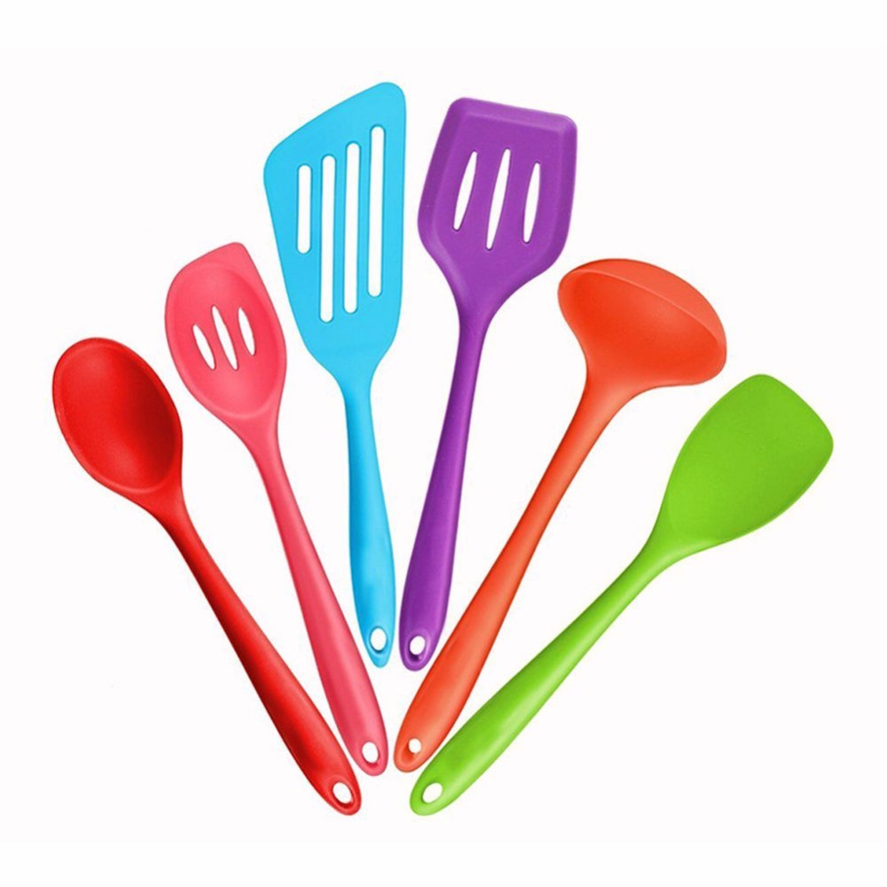 Colorful silicone kitchen utensils heat resistant cooking for Colorful kitchen tools