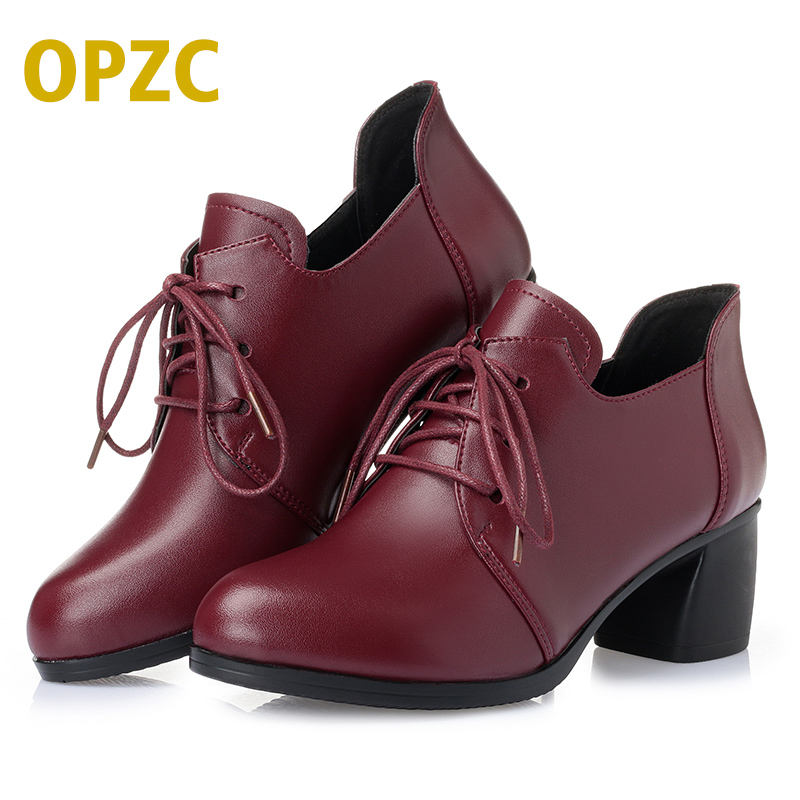 OPZC 2018 NEW Women Genuine leather shoes Heel Casual Shoes Lace Up Womens Shoes Retro Brogues Fashion spring femal shoes 2016 spring summer new old leather lace round japanese casual shoes retro fashion leather shoes
