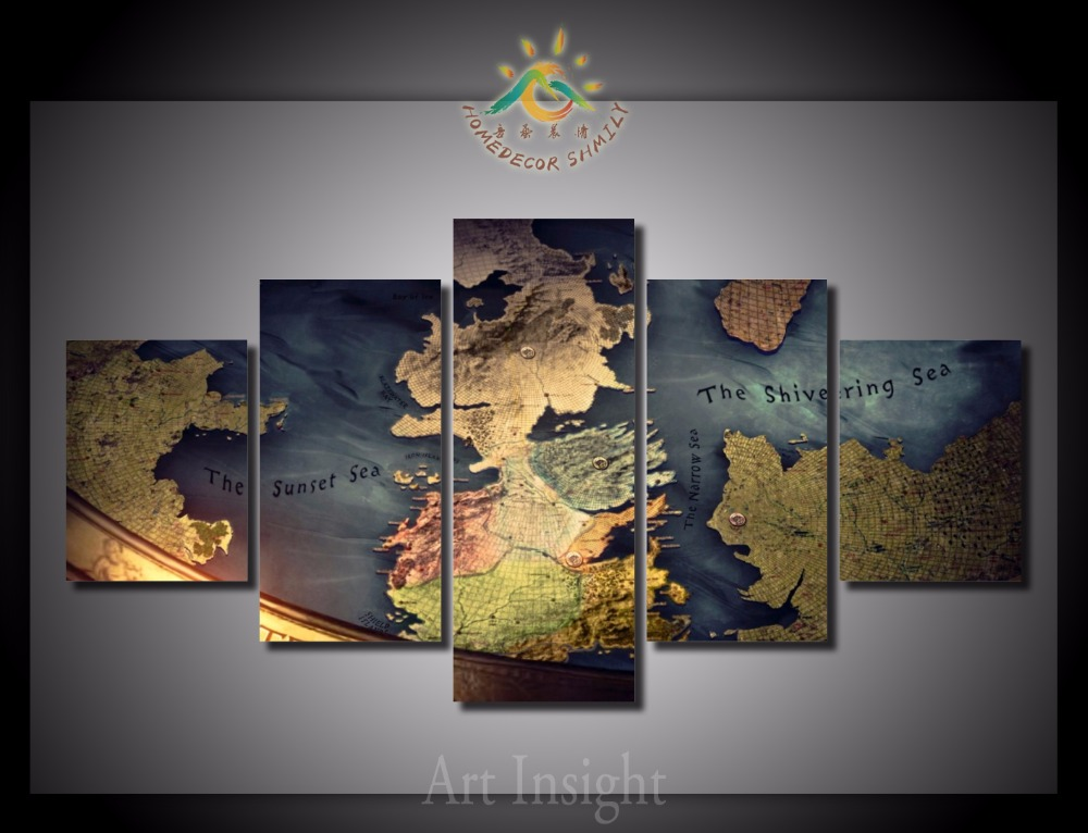 Buy 5 pieces set the game of thrones map for Art painting for home decoration