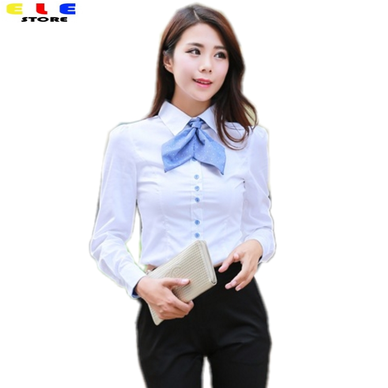 Brand Fashion 2018 Womens Casual Solid Body Shirt Long Sleeve Formal Blouse Women Tops Work Shirts White Bodysuit Blouses