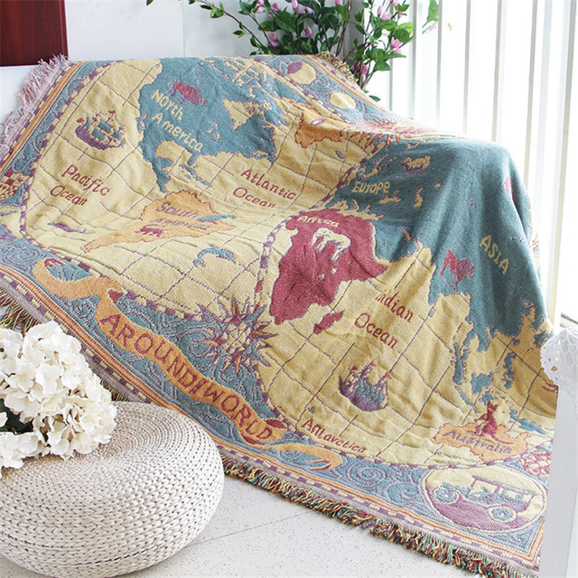 World Map Throw Cotton Tassel Blanket