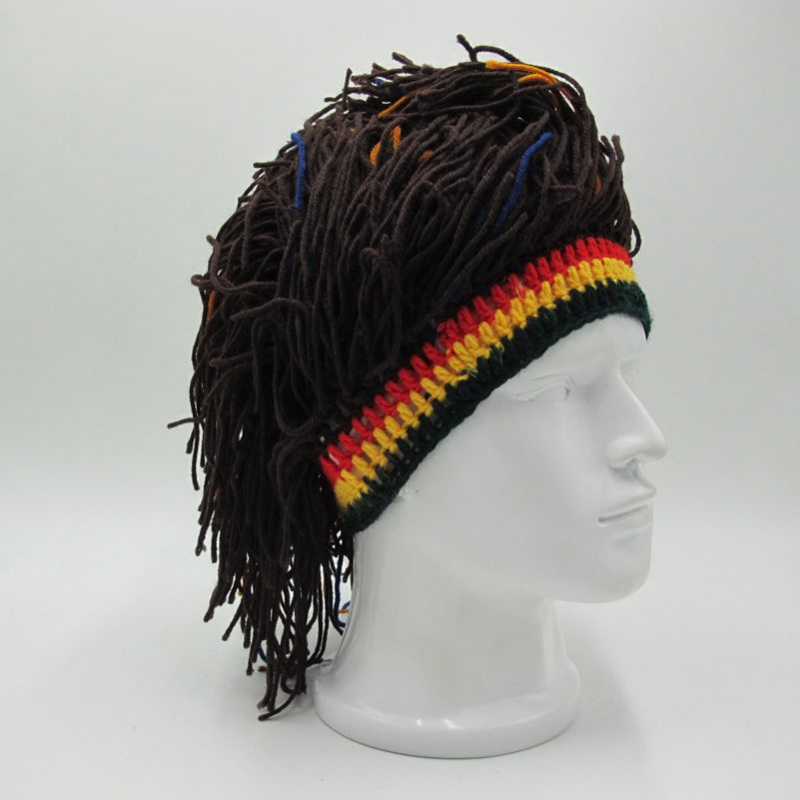 Wig Men Caps Beanie Winter Warm Hat Hand Made Halloween Birthday Christmas Gifts Funny Party Packing Of Nominated Brand