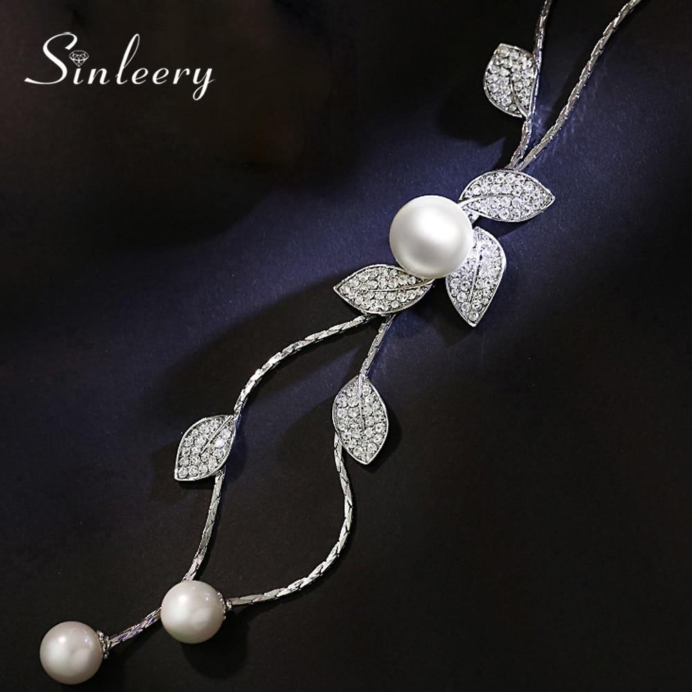 SINLEERY Elegant Leaf & Imitation Pearl Tassel Long Necklace Pendants Women Winter Chain Costume Jewelry Accessories MY098 SSH цены